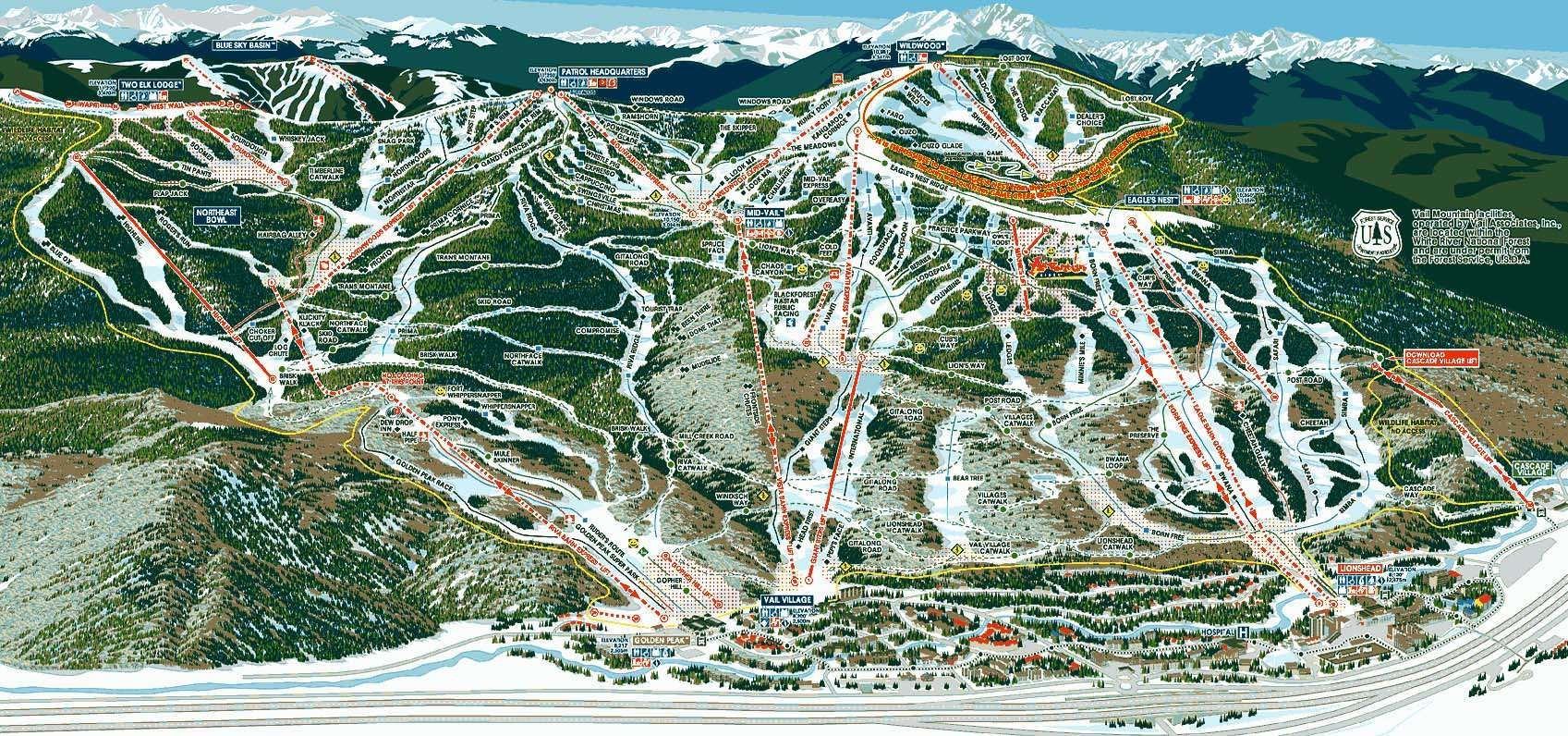 main vail trailmap. where to shred