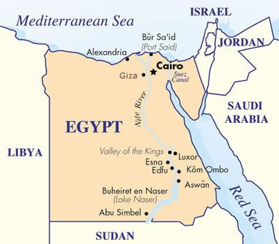 Virtual Tour Egypt - Map of egypt libya and sudan
