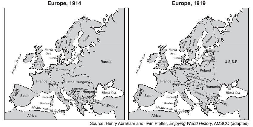"""comparison of the """"1914 v the Map of europe before and after world war 1, what new countries did the treaty of versailles and the treaty of breast-litovsk create before world war 1 after world war 1."""