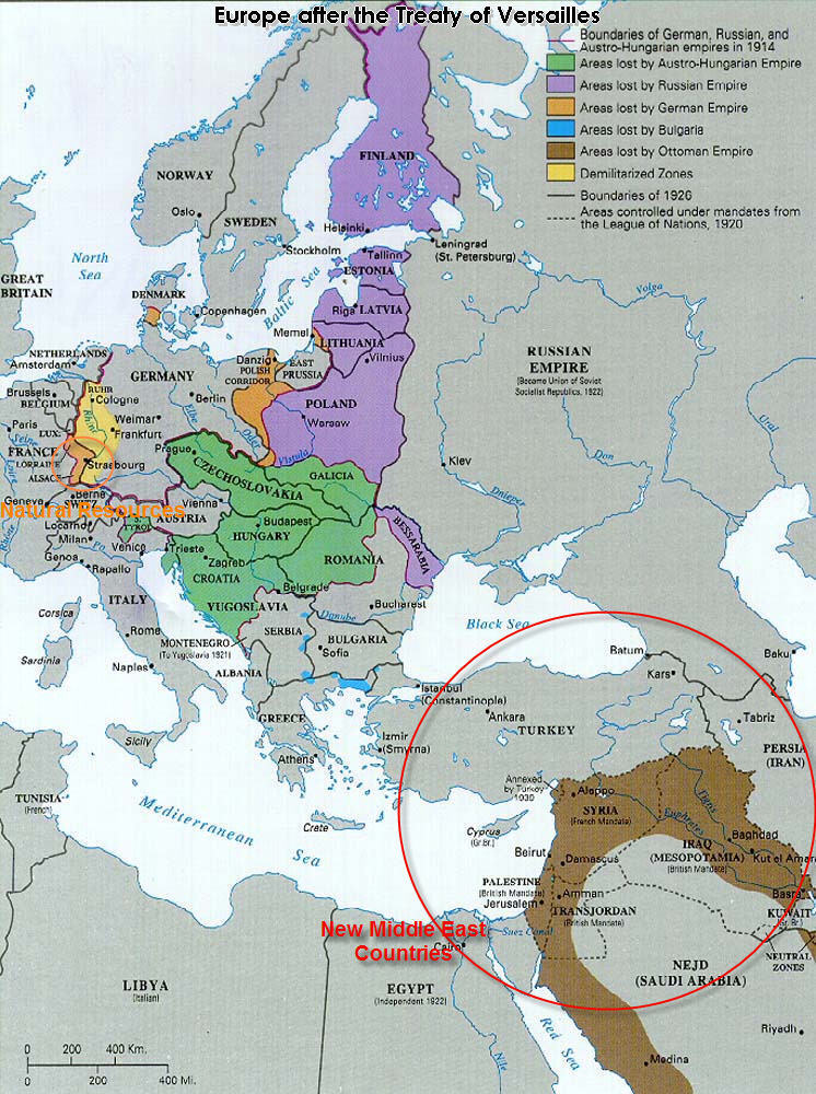 Treaty Of Versailles - Germany map after the versailles treaty