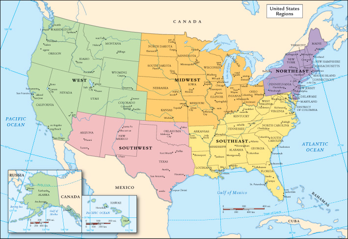 United States WebQuest - Map of the 5 regions of the us