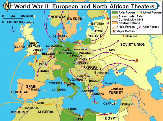 World War II - Europe map after world war1